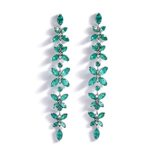 Brinco de Ouro 18k com Esmeraldas e Diamantes