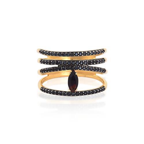 anel de ouro 18k com ôNIX e espinélio