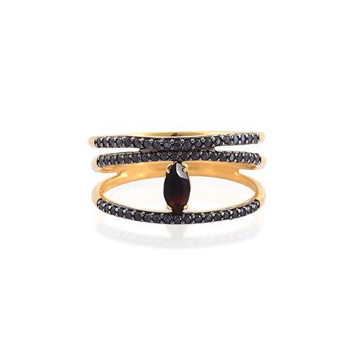 anel de ouro 18k com ônix e esponélio