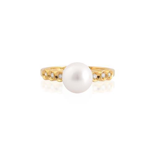 anel de ouro 18k com pérola e diamantes
