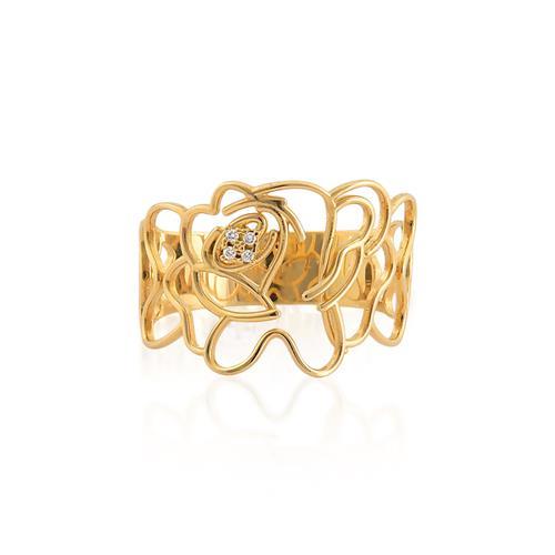 Anel de Ouro 18k de Rosa com diamante