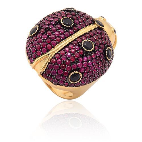 anel de ouro 18k de joaninha com rubi, Safira e espinélio DEBORA IOSCHPE