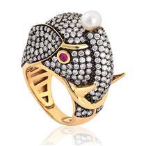 anel de ouro 18k de elefante com Rubi, pérola e diamante DEBORA IOSCHPE