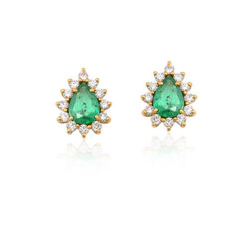 brinco de ouro 18k com esmeralda e diamantes