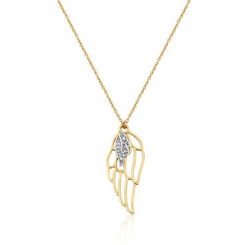 gargantilha de ouro 18k de Asa com Diamantes