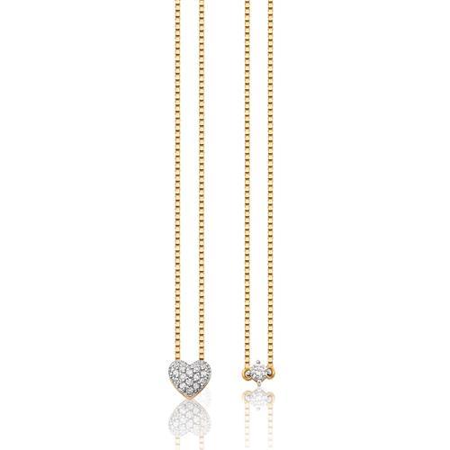 Gargantilha Escapulário de Ouro 18k de coração com diamantes