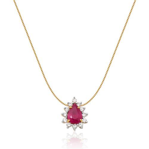 Pingente de ouro 18k com rubi e diamantes