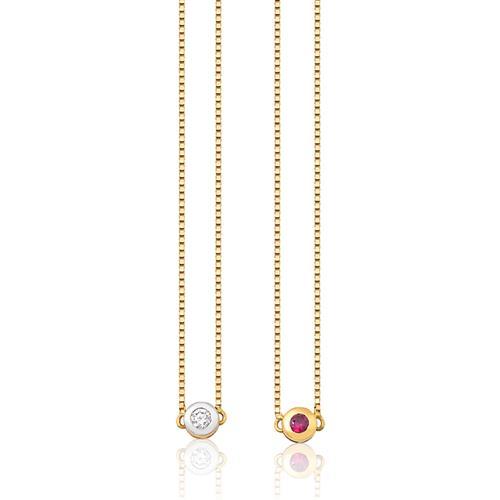 gargantilha escapulário de ouro 18k com rubi e diamante