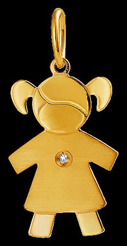 Pingente de Ouro 18k de Menina com Diamante