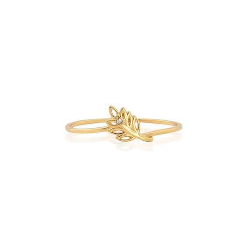 Anel de Ouro 18k de Folha com 1 ponto de Diamantes.