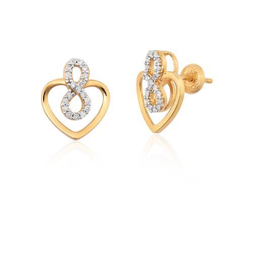 brinco de ouro 18k de coração com diamantes