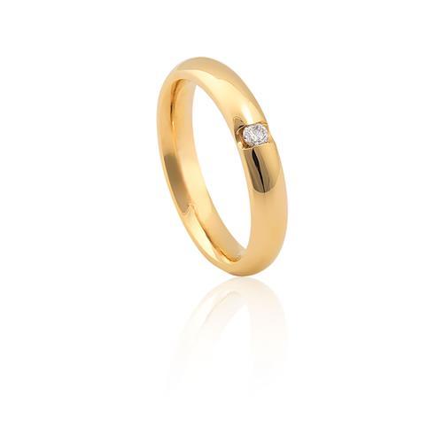 Aliança de Ouro Amarelo 18k com Diamante
