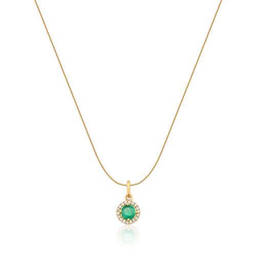 Pingente de Ouro 18k com Diamante e Esmeralda