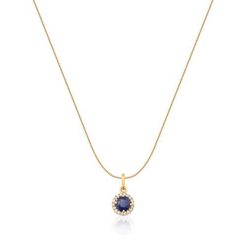Pingente de Ouro 18k com Diamante e Safira