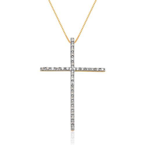 Pingente de Ouro 18k de Cruz com Diamante