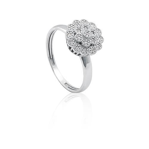 Anel de Ouro 18k de Flor com Diamantes.