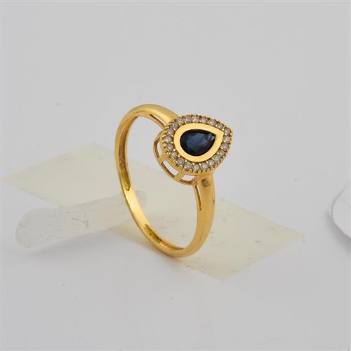 Anel de ouro 18k com safira e diamante