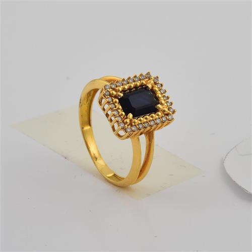 anel de ouro 18k com safira azul e diamantes