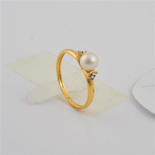 anel de ouro 18k com pérola e diamante