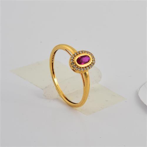 anel de ouro 18k com zircônia e diamantes