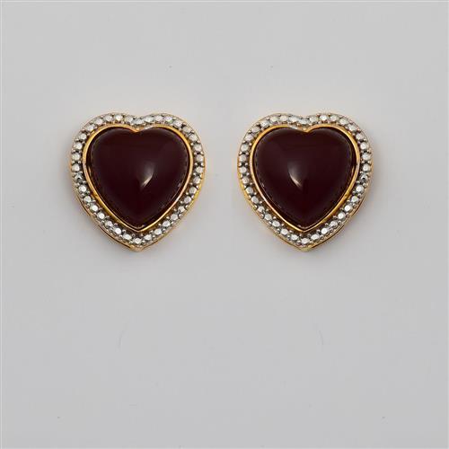 Brinco de Ouro 18k Coração com Ágata Vermelha