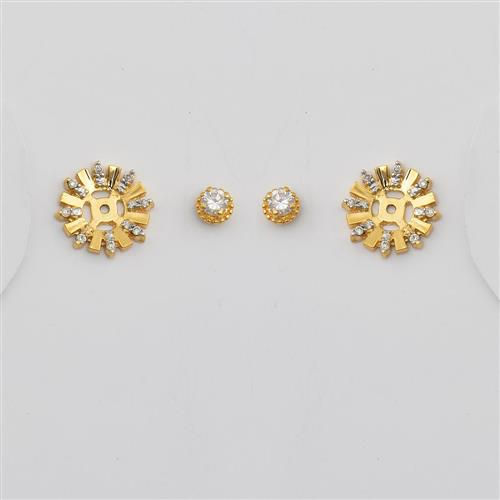 Brinco de Ouro 18k Flor com Diamante