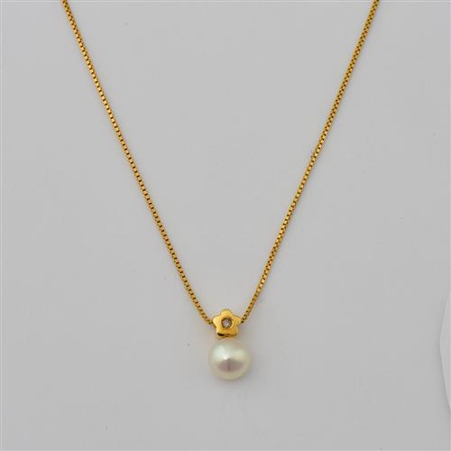Gargantilha de Ouro 18k Flor com Diamante e Pérola