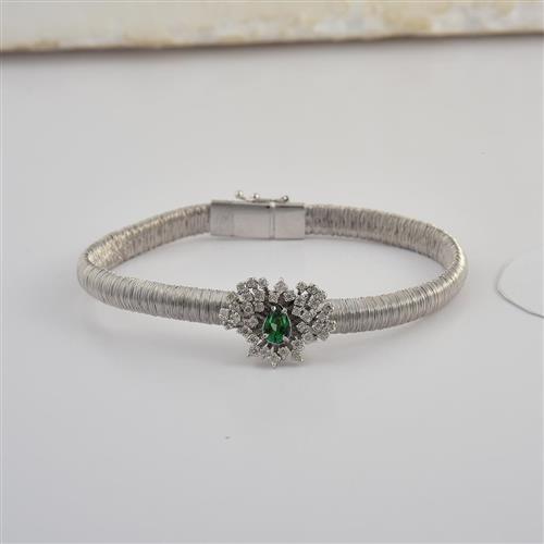 pulseira de ouro 18k de flor com esmeralda e diamantes