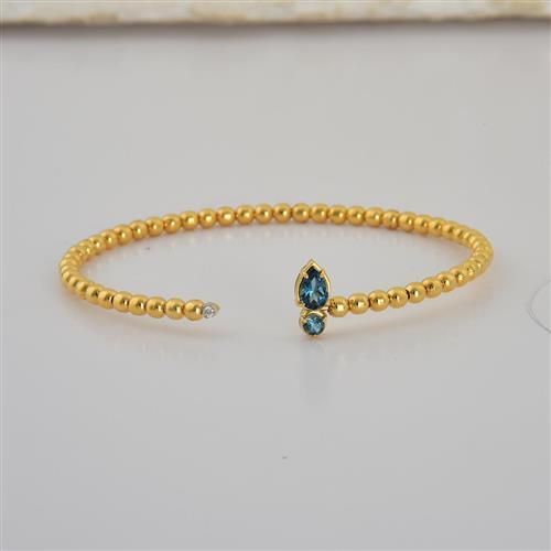 pulseira de ouro 18k com topázio e diamante