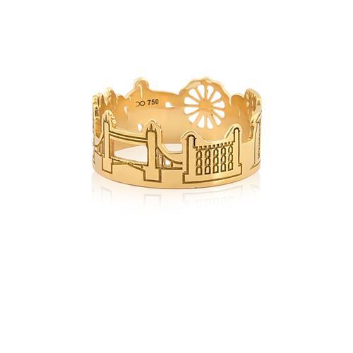 Anel de Ouro 18k de monumentos do Reino unido