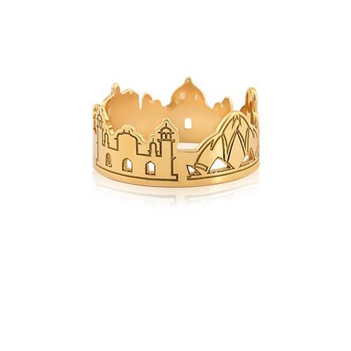 Anel de Ouro 18k de monumentos da Índia