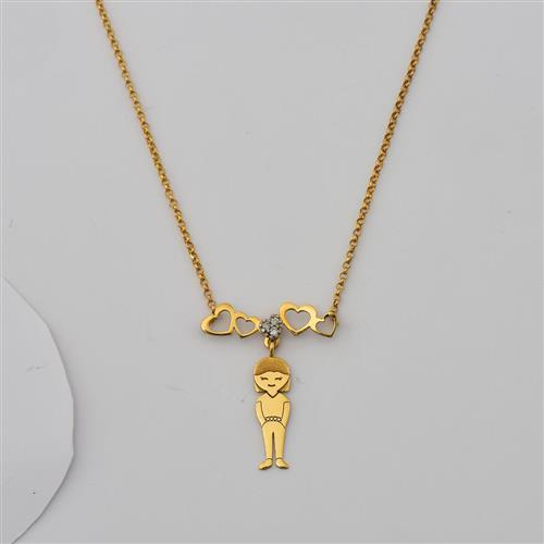Gargantilha de Ouro 18k Corações com Diamante