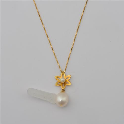 gargantilha de ouro 18k de flor com pérola
