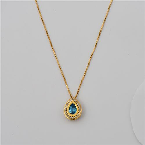 Gargantilha de Ouro 18k com Diamante e Topázio Swiss