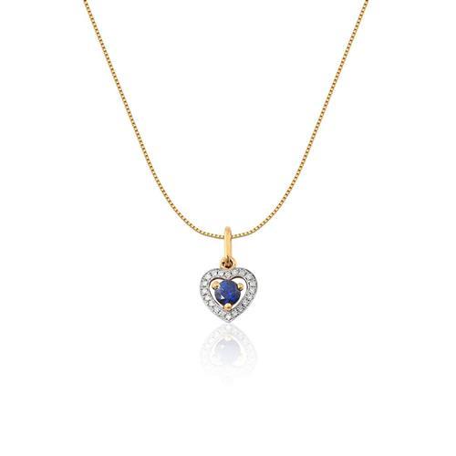 Pingente de Ouro 18k com Diamante e Safira Azul