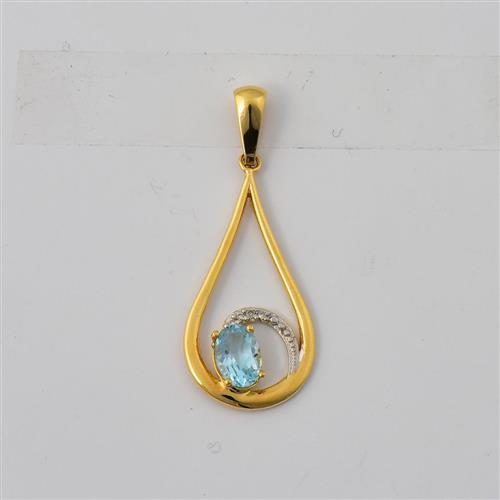 Pingente de Ouro 18k com Diamante e Topázio Sky