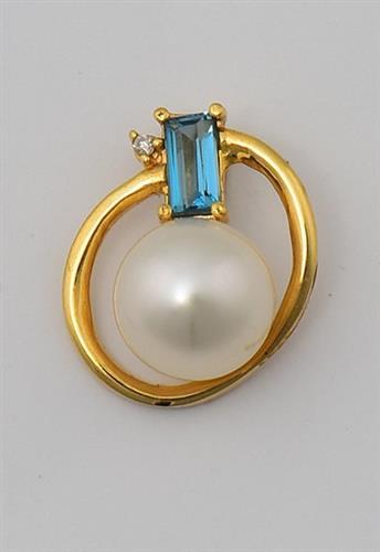 Pingente de Ouro 18k com Diamante, Topázio London e Pérola