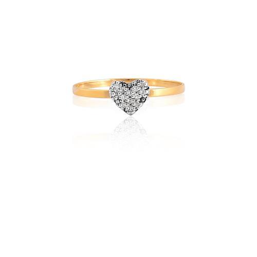 Anel de Ouro 18k de Coração com Diamante