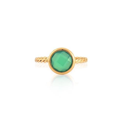 Anel de Ouro 18k com Quartzo Verde