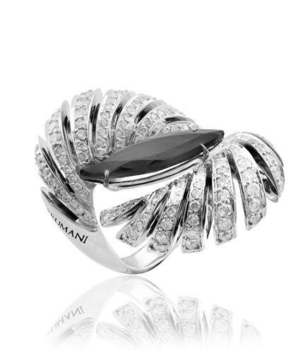 Anel de Ouro 18k com Navete de Turmalina e Diamantes.