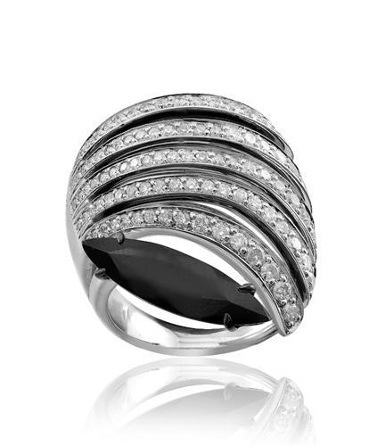 anel de ouro 18k com navete de turmalina e diamantes