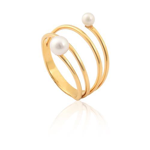 anel de ouro 18k com pérolas