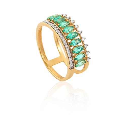 anel de ouro 18k com esmeraldas e diamante