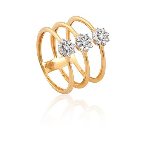 Anel de Ouro 18k de flor com diamantes