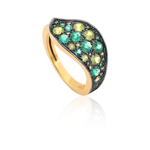 anel de ouro 18k com esmeralda e peridoto