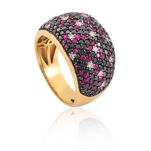 anel de ouro 18k com Rubi e diamantes