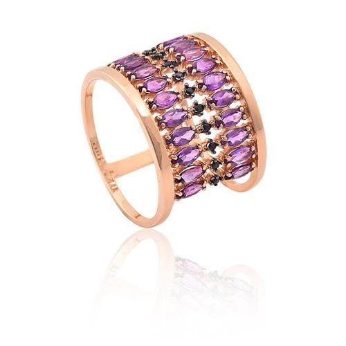 anel de ouro 18k com ametista e espinélio