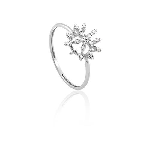 Anel de Ouro 18k de Flor com Diamante.
