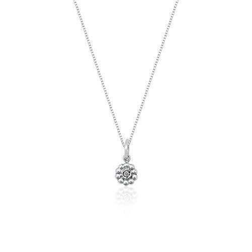 Gargantilha de Prata 925 de Flor com Zircônia