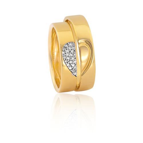 Aliança de Ouro 18K de Coração com Diamantes